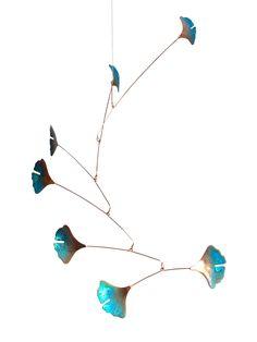Handmade Copper Ginko Leaf Mobile