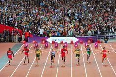 And they're off! Athletes in the T44 classification sprint 100m to the finish line. 2012 London Paralympic Games