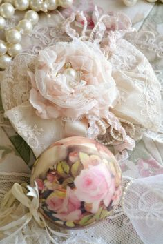 """""""Christmas now surrounds us, Happiness is everywhere Our hands are busy with many tasks As carols fill the air. Pink Christmas, Xmas, Making Fabric Flowers, Love Collage, Tinsel Tree, Shabby Chic Flowers, Shaby Chic, Linens And More, Shabby Chic Interiors"""