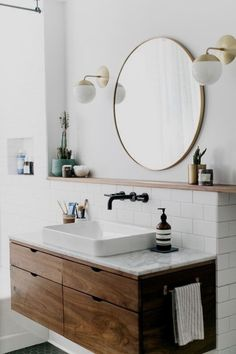 Copy Cat Chic Room Redo A modern wood and brass bathroom seen on SF Girl by Bay gets recreated for less by copycatchic luxe living for less budget home decor and design Brass Bathroom, Laundry In Bathroom, Bathroom Interior, Bathroom Modern, Minimal Bathroom, Vanity Bathroom, Round Bathroom Mirror, White Bathroom, Bathroom Cabinets