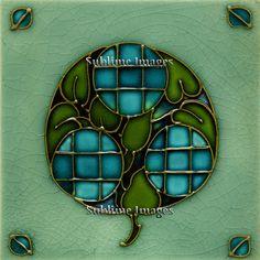 Ceramic Tile 6 inch square - Vintage Art Nouveau Tile.(Blue Apple). $12.95, via Etsy.