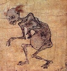 "Gaki: ""hungry ghost"" Japanese (and Eastern) mythological creature portrayed with swollen belly and narrow throat or small mouth. Ghost is perpetually hungry, but cannot eat (or food burns if it's swallowed). Often associated with abortion. Mythological Characters, Mythological Creatures, Mythical Creatures, Japanese Mythology, Japanese Folklore, Japanese Painting, Japanese Art, Rennaissance Art, Ghost Type"