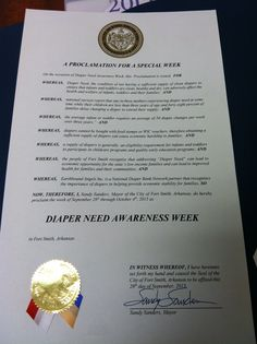 Fort Smith, AK - Mayoral proclamation recognizing Diaper Need Awareness Week (Sept. 28 - Oct. 4, 2015)  www.diaperneed.org  #DiaperNeed