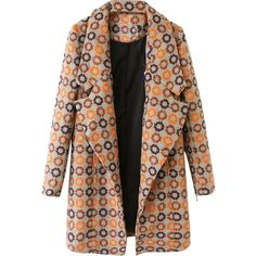 Oversized-collar Patterned Md-long Coat (970 MXN) ❤ liked on Polyvore featuring outerwear, coats, jackets, blackfive, casacos, brown coat, longline coat, oversized collar coat, long coat and print coat