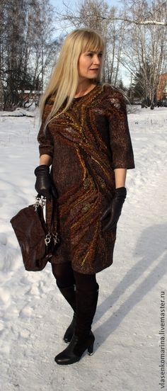 Купить Платье валяное Шоколадно-цитрусовое настроение - абстрактный, валяное платье, шерстяное платье
