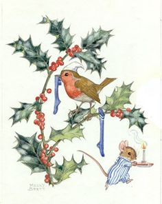 Illustration by Molly Brett depicting a robin, complete with night cap, hanging up his Christmas stocking on a sprig of holly while a small mouse, who has already hung his up, scampers off to bed in his pyjamas, his way guided by a lit candle.
