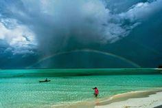 Double rainbow over Onuk island, Philippines.