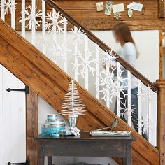 Fun craft for the family, snowflakes for the banisters!