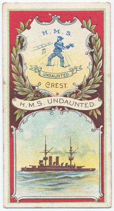 "H.M.S. Undaunted, Armoured Cruiser, 1886 - for Hills, Imperial Cigarettes, ""Battleships & Crests"" series from The New York Public Library Digital Collections."