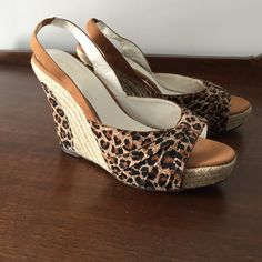 """Leopard Wedge Heel Leopard Wedge Heel. Size 9 with 4.5"""" Heel. Like new. Worn one time. Excellent condition. Wild Diva Shoes Wedges"""