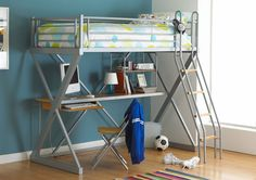 The Hyder Studio Bunk Loft Bed has all a teenager can need. The loft bed is high enoughto allow space underneath for a corner desk with shelf unit, as well as a chair / sleepover bed for when friends stop over.
