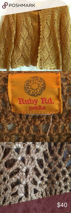 Ruby Rd. Petite crochet gold and tank top Beautiful top ruby rd Sweaters Shrugs & Ponchos