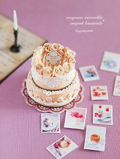 Happy wedding! miniature Cake* : natural色の生活~handmade家具