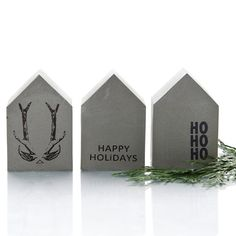 Christmas Concrete House quote art antler quirky by PASiNGA