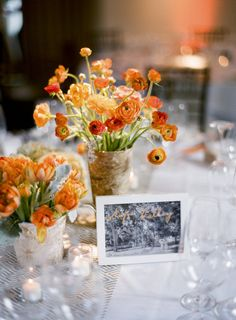 officially on the orange bandwagon  with these pretty florals  Photography by http://tanjalippertphotography.com, Wedding Planning by http://charmedeventsplanning.com, Floral Design by http://poppyspetalworks.com