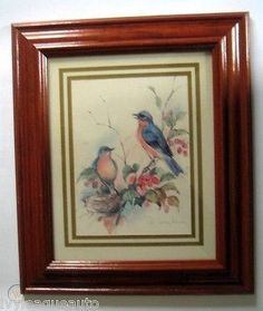 Art, Paul Whitney Hunter Birds Bluebirds Picture Framed Under Glass Print Signed Vintage Art Prints, Bluebirds, Really Cool Stuff, Picture Frames, Vibrant, Glass, Pictures, Painting, Portrait Frames