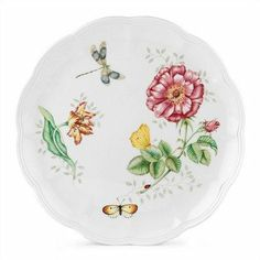 Butterfly Meadow Dragonfly Dinner Plate [Set of 4] by Lenox. $67.80. 6083521  A blue-winged dragonfly, bright yellow butterfly, and brilliantly hued flowers complete the garden scene on this Lenox porcelain plate. The plate's rim is gracefully scalloped for beautiful presentation. Mix and match this enchanting plate with the companion Butterfly Meadow dinner and accent plates. Features: - Introduced in 1999 - Part of the Butterfly Meadow Dinnerware Collection - D...