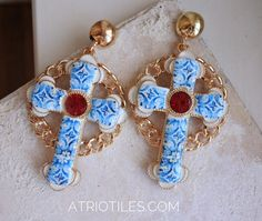 Cross Earrings Majolica Antique Azulejo Tile COIMBRA 1593 by Atrio