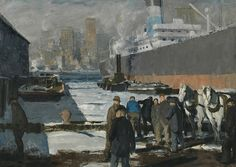 """George Bellows, """"Men of the Docks"""", 1912, oil on canvasThe National Gallery, London"""