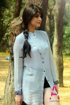 Grey apple cut shirt tunic with embroidered cuff perfect summery look. #AnushriSingh