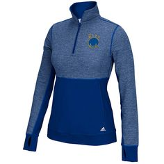 GOLDEN STATE WARRIORS ADIDAS WOMEN'S 'THE CITY' CLIMALITE TWIST ½ ZIP PULLOVER – ROYAL