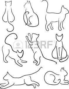 Silhouette of Cats Cat Design Set Line Art Stock Vector