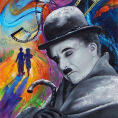 Jim Warren Charlie Chaplin Dreams in Technicolor Charlie Chaplin, Jim Warren, Sword And Sorcery, Cross Paintings, Surreal Art, Large Art, Pablo Picasso, Art World, Fantasy Art