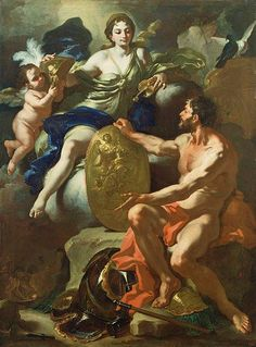 Venus at the Forge of Vulcan, 1704, by Francesco Solimena  Venus, the goddess of love, resplendent in a brilliant blue gown, looks down at a gold shield emblazoned with an image of Athena. Venus went to her husband Vulcan's forge and asked him to make arms for her son Aeneas. Here, the powerfully built Vulcan holds upright the shield intended for Aeneas, gestures to the armor at his feet, and looks up at his wife for her approval. In the lower left-hand corner are two Cyclopes who have made…