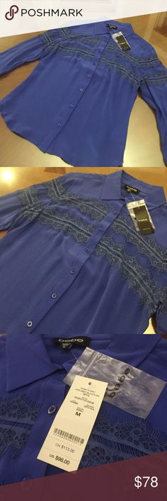 Brand New Bebe Bond Street Lace Inset Blouse This beautiful, brand new Bebe Bond Street blouse comes in a stunning midnight blue/purple color and is NOT for trade or bargaining. It still has its tags attached and comes with extra buttons. This is no longer available at Bebe, and looks amazing when paired with skinny leather leggings. bebe Tops Blouses