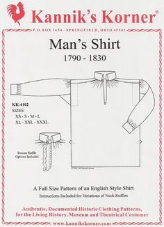 Kannik's Korener Man's Shirt 1790 - 1830 KK 4102. Federalist, Lewis and Clark, Napoleonic, and War of 1812 reenactors and historic museum interpreters would use a shirt like this.