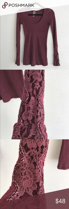 Free people crafty cuff thermal wine maroon xs One of my favorite FP thermals ever! The lace sleeves are in great condition. Worn gently! Free People Tops Tees - Long Sleeve