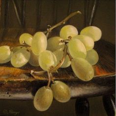 grapes in sunlight on windsor chair 5x5 in., painting by artist JEANNE ILLENYE