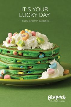 Add Lucky Charms marshmallows to your pancakes for extra fun! Stack those green beauties and top with whipped cream and more marshmallows. Dig in!  St paddys day breakfast for Cillian?