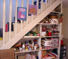 Under-stair storage shelves. Seven Impossible Things Before Breakfast Stair Storage, Storage Shelves, Under Stairs, Home Studio, Home Depot, Flooring, Envy, Basement, Illustrator