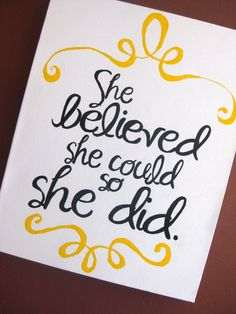 Handpainted Canvas She Believed She Could by aimeeweaver on Etsy, $30.00