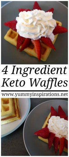 Keto Waffles With Coconut Flour Recipe with only 4 Ingredients – An easy low carb waffle idea with heavy cream, coconut flour and a topping of strawberries and whipped cream.