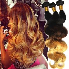 DE Local ! Human Hair Ombre:1B/33/27# Long:18 20 22  Brazilian 50g Hair Weaving