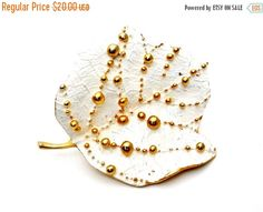 Sale White Leaf Brooch Gold Plated Bead by TheJewelryLadysStore