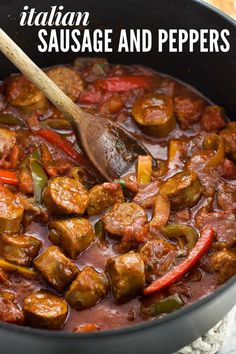 Italian Sausage and Peppers. Italian Sausage and Peppers Recipes This Italian sausage and peppers recipe is pure comfort food. Your favorite variety of Italian sausages, a . Italian Sausage Recipes, Sweet Italian Sausage, Italian Sausages, Pork Recipes, Chicken Recipes, Cooking Recipes, Sausage And Peppers Pasta, Sausage Sauce, Easy Dinner Recipes