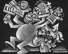 Angelo Lopez (2015-12-09)  A cartoon originally published in the December 2, 2015 Philippines Today on religious violence -:-:-  Religious Violence