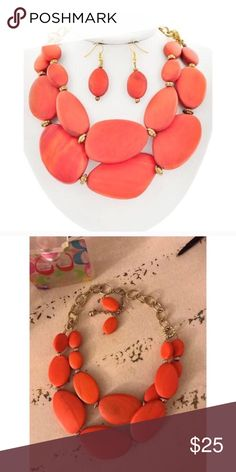 """Orange Wood Necklace Set Burnished Gold Tone / Orange Wood / Lead&nickel Compliant / Fish Hook (earrings) / Graduating / Multi Row / Necklace & Earring Set •  LENGTH : 20"""" + EXT •  EARRING : 2"""" •  DROP : 2 3/4""""  •  GOLD/ORANGE R.E.A.L Jewelry Jewelry Necklaces"""