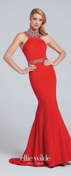 Prom Dresses 2017 - Ellie Wilde for Mon Cheri -  red mermaid prom dress with jeweled high halter collar and waistband  - Style No. EW117082