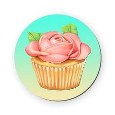 Pink Rose Cupcake Round Coaster by Patricia Shea Designs