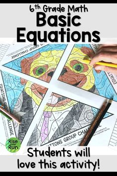 graders will love this equation activity! They substitute values for variables and work in groups of 4 to complete a mystery picture. Fun and challenging. Fun Math Activities, Teaching Resources, Math Games, Math Lesson Plans, Math Lessons, Teaching Tips, Teaching Math, Teaching 6th Grade, Math Groups