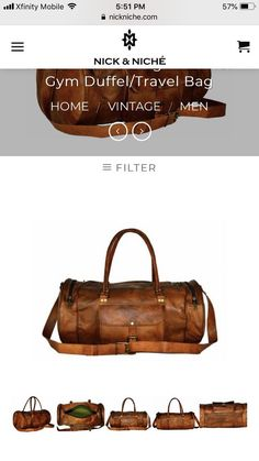 Nick   Niche Genuine Leather Handcrafted Travel  Duffle Bag  fashion   clothing  shoes 2df45d8385404