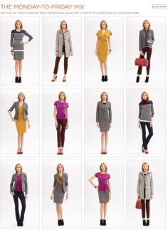 10 fall items mixed and matched for one fab work wardrobe - makes me want to dress up to blog!
