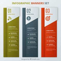 Infographic banners template set I Free Vector