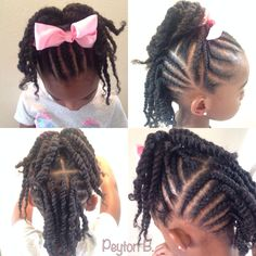 Top: Cornrows with ends twisted up into ponytail. Back: Cornrows + two strand twists. Natural hairstyles for kids Natural hair
