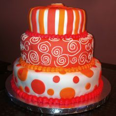 Pink and orange fondant...40th Birthday party