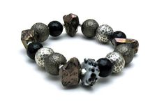 Brown Black Sterling Silver Chunky Bohemian by cooljewelrydesign